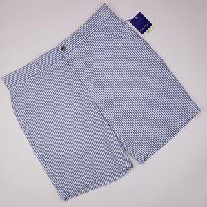 Alan Flusser Seersucker Shorts New 36 Blue White S